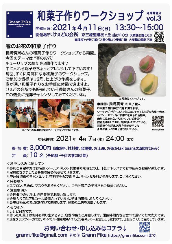 和菓子作りワークショップ vol.3(延期開催分1回目) 春のお花の和菓子作り